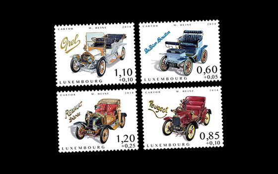 Luxembourg 'Charity stamps 2014' Cars of yesteryear SI