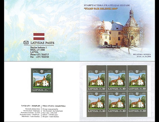 EXPO Booklet - Palaces of Latvia - Jaunpils Castle 2004  Stamp Booklet