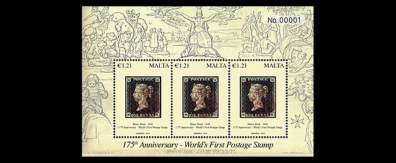 175th Anniversary World's First Postage Stamp Miniature Sheet