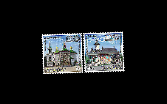 Joint issue Romania – Ukraine, Church of Sucevita Monatery and the Church of the Saviour at Berestovo