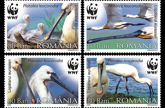 Protected Birds - The Eurasian Spoonbill, WWF - World Wide Fund For Nature Set