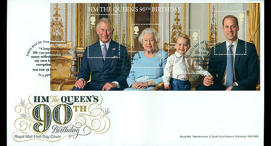 HM The Queens 90th B-Day (FDC-MS) First Day Cover
