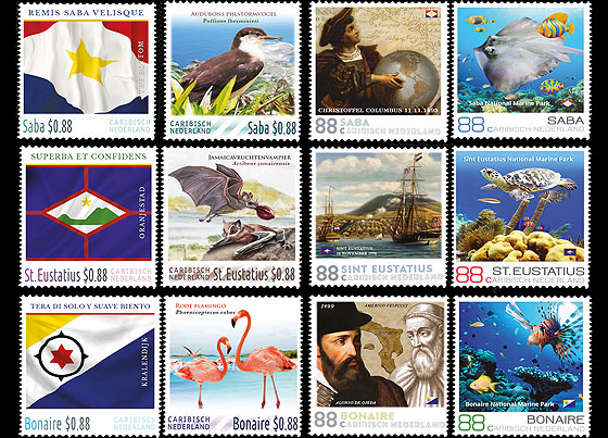 4 of Every Island (Saba, St. Eustatius, Bonaire) 12 Stamps Set