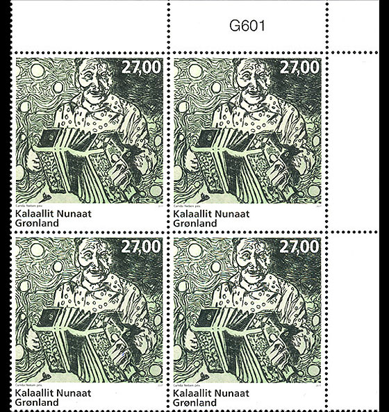 Greenlandic Music - Accordion music 3/3 (Plate Block) Block of 4