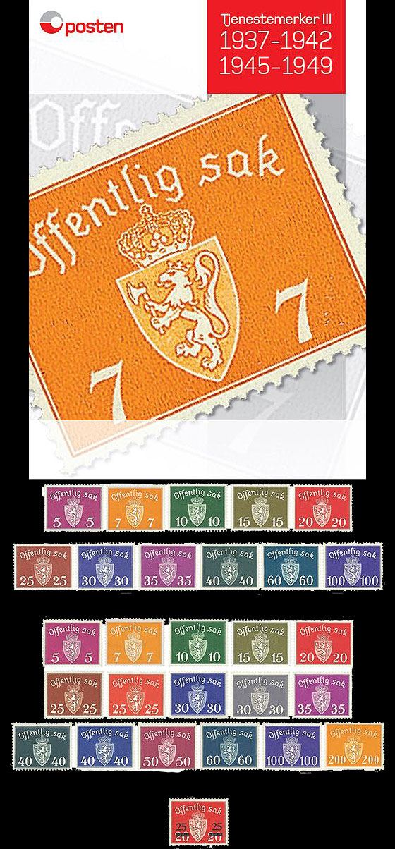Year Collection Norwegian Official Stamps III 1937-1942, 1945-1949 Year Collections