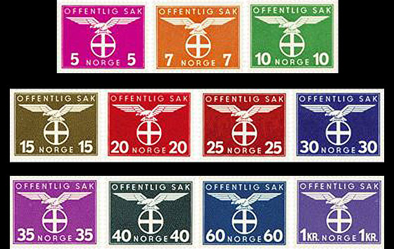 Year Collection Norwegian Official Stamps IV 1942-1944 Year Collections