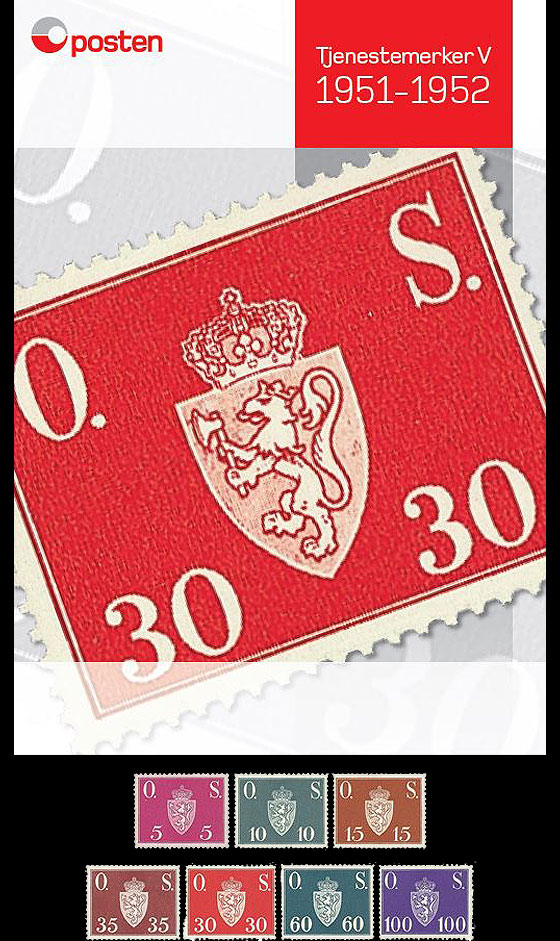 Year Collection Norwegian Official Stamps V 1951-1952 Set