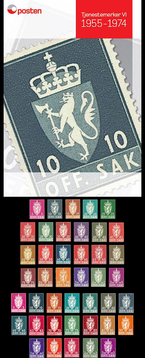 Year Collection Norwegian Official Stamps VI 1955-1974 Year Collections