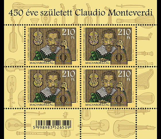 Claudio Monteverdi was born 450 years ago Miniature Sheet