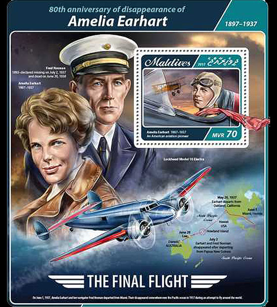 80th anniversary of Amelia Earhart disappearance Miniature Sheet