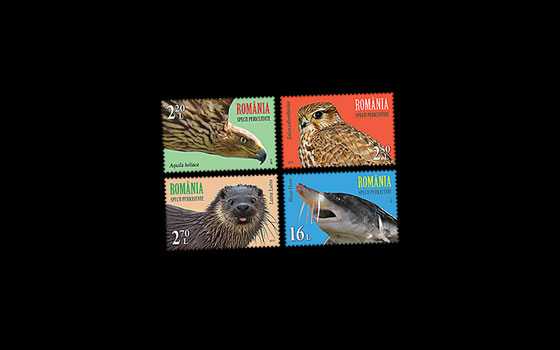 Joint stamp issue Romania – United Nations Postal Administration: Endangered species SI