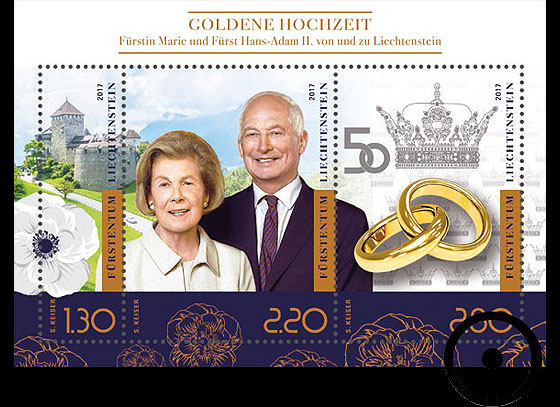Golden Wedding of Prince Hans-Adam II and Princess Marie of Liechtenstein Miniature Sheet CTO