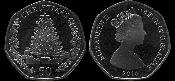 Christmas 2016 50p Coin Single Coin