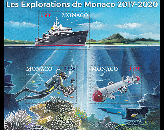 Monaco Explorations - (M/S Mint) Miniature Sheet