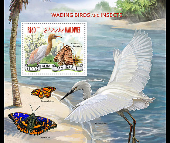 Wading Birds and Insects Miniature Sheet