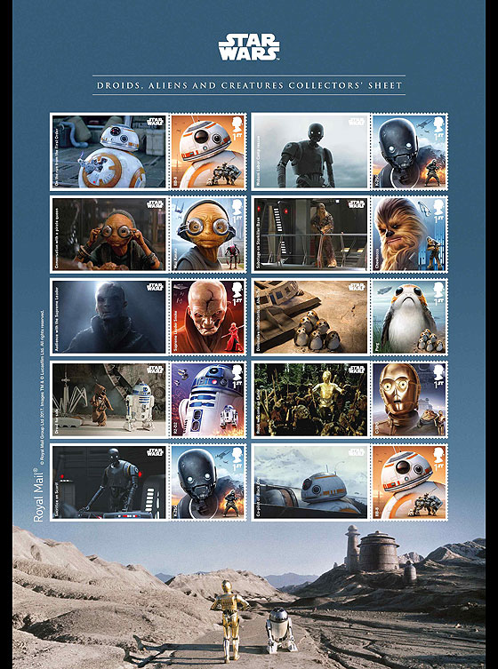 PRE ORDER Star Wars: The Last Jedi - Droids Aliens and Creatures Collector Sheet Collectibles