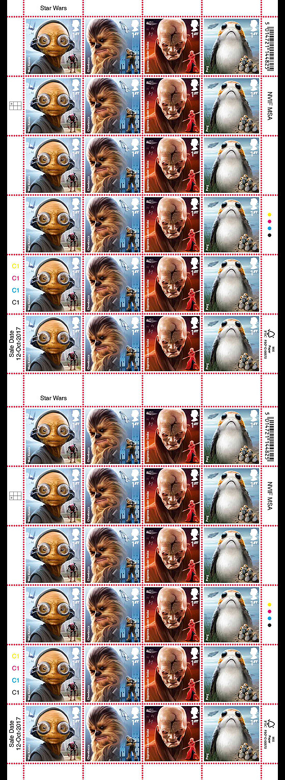 PRE ORDER Star Wars: The Last Jedi - Stamp Sheet - Aliens (Full Sheet of 24) Sheetlets