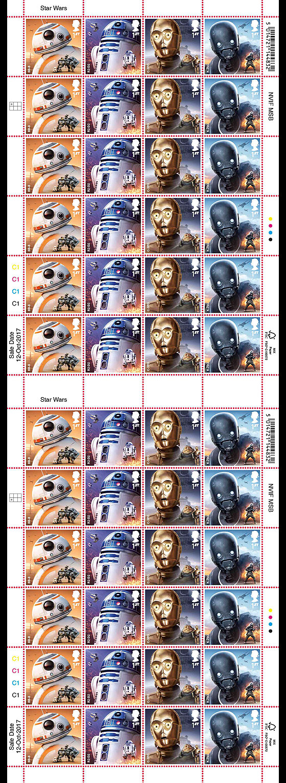 PRE ORDER Star Wars: The Last Jedi - Stamp Sheet - Droids (Full Sheet of 24) Sheetlets