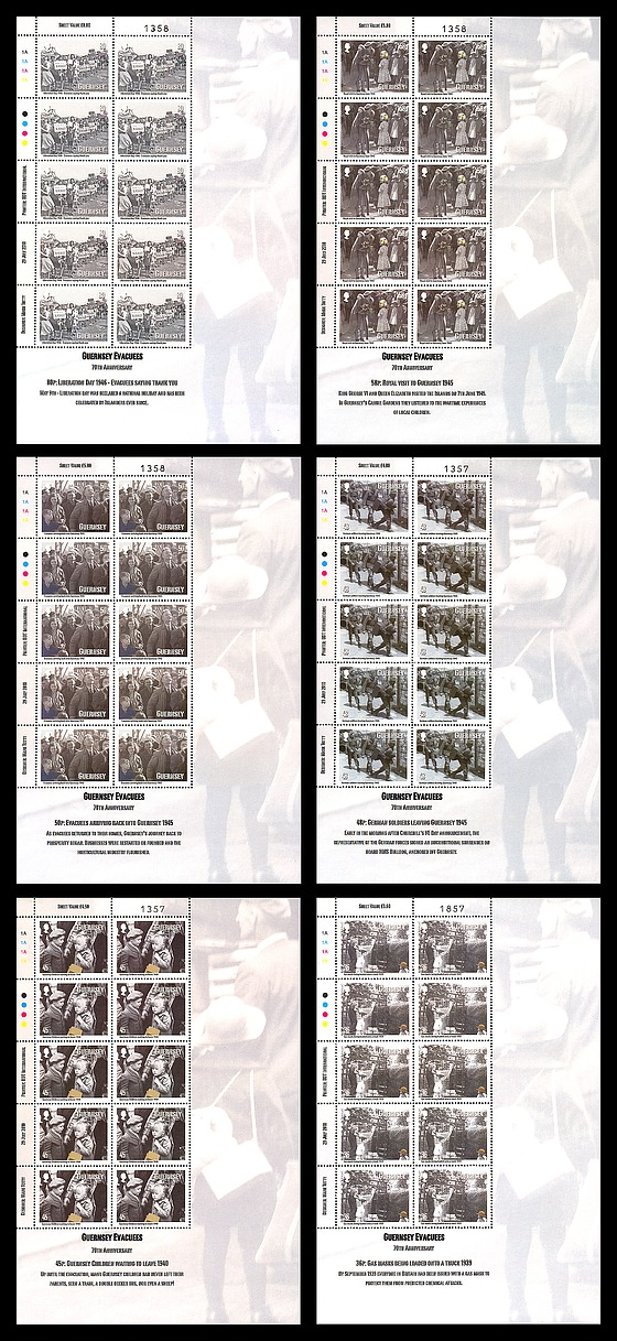 Guernsey Evacuees (All 6) Mini-feuilles